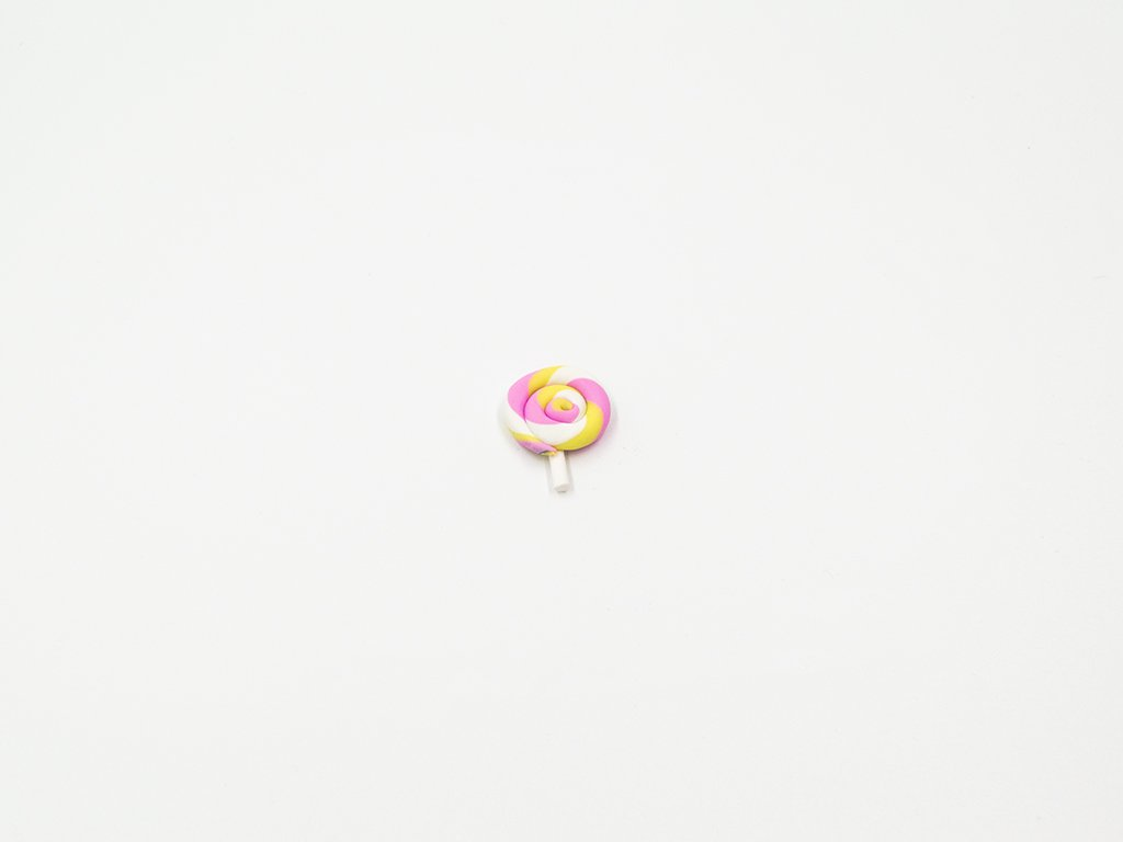 Aplikace lízátko fimo růžovo žluté malé (š2.1 x v2.6cm) 20Kč