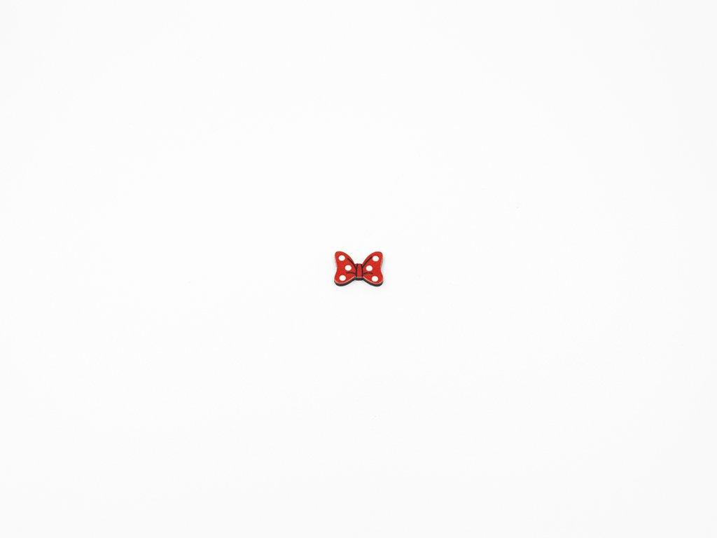 Aplikace mašlička plast červená s puntíky (š 1.5 x v1.2cm) 5kč