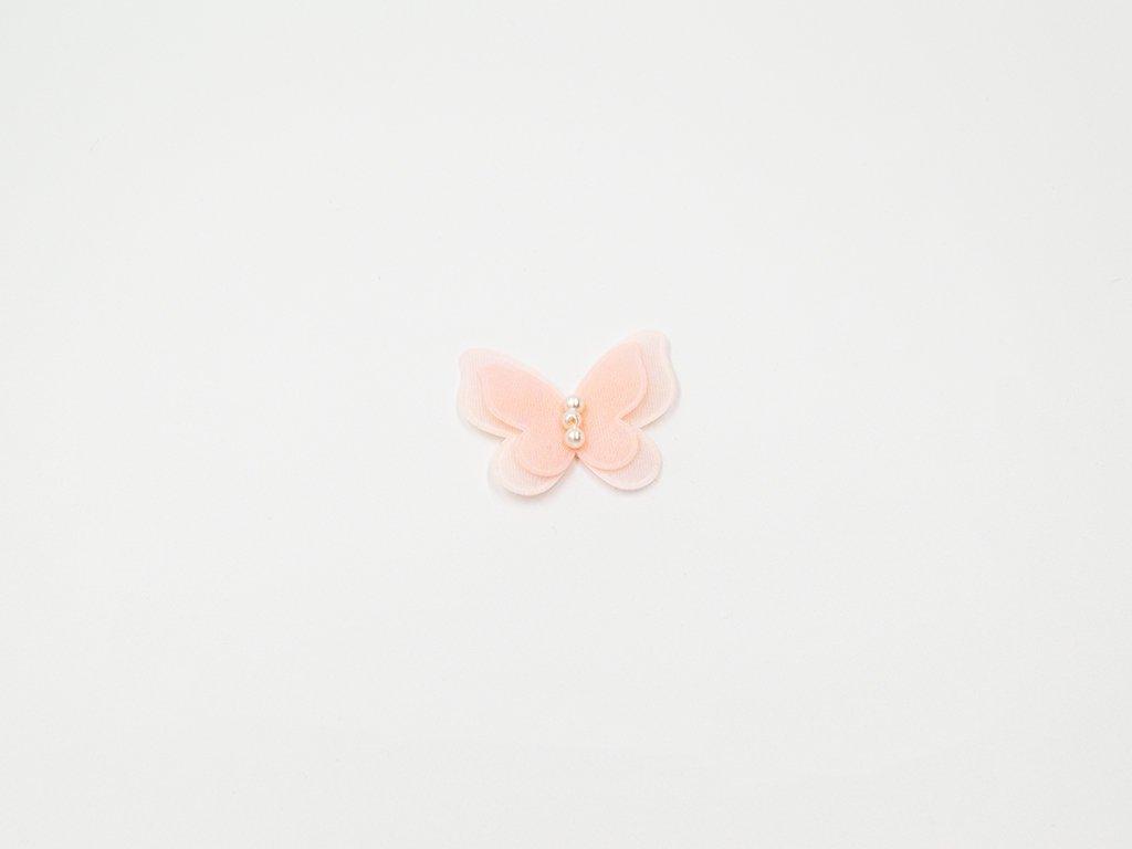 Aplikace motýl perličky lososová (š3.5 x v4 cm) 15Kč