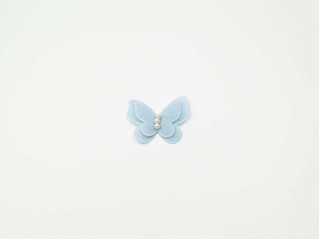 Aplikace motýl perličky modrý (š3.5 x v4 cm) 15Kč