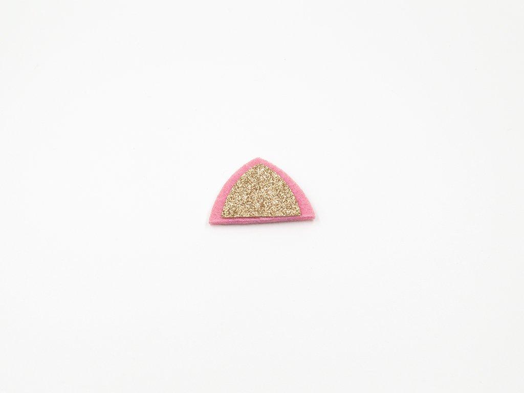 Aplikace ouško filc zlaté (š4.5 x v3.2cm) 18Kč