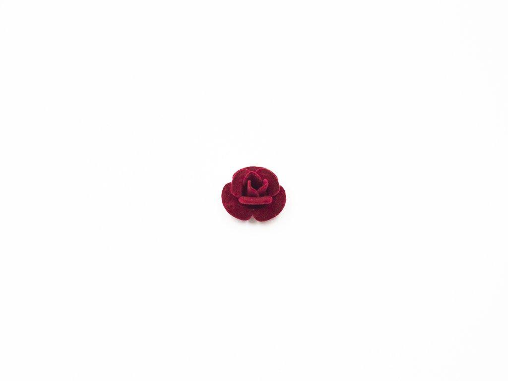 Květ kov samet vínový velký (průměr 3cm x hloubka 1.5cm) 25Kč