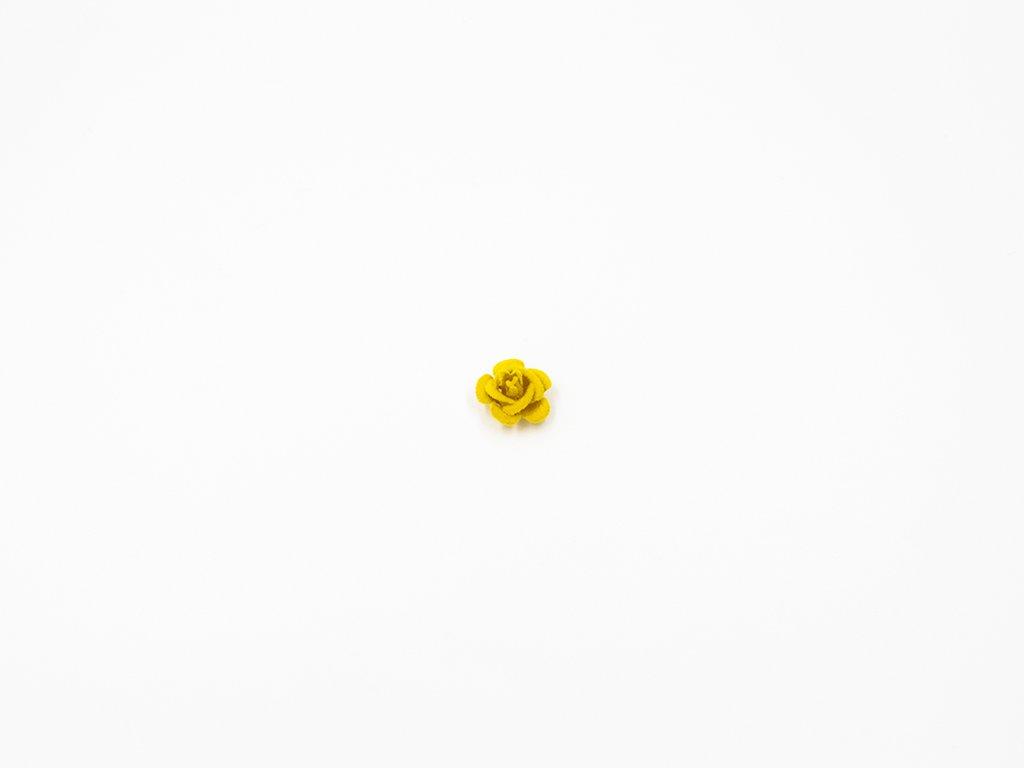 Květ kov samet žlutý malý (průměr 1.5cm x hloubka 1cm) 5Kč