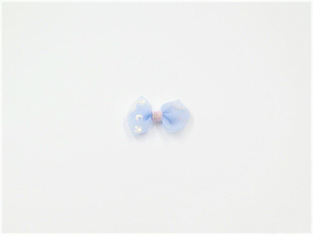 Mašle organzová modrá s flitry (š4.5 x v3cm) 15Kč