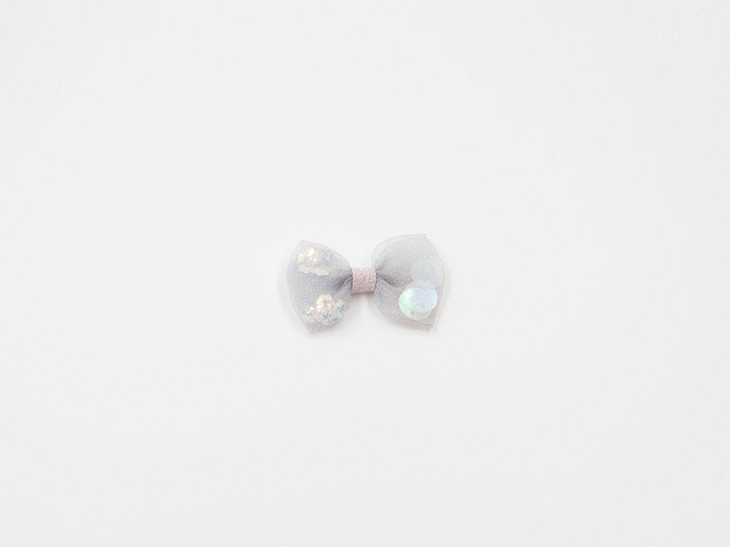Mašle organzová šedá s flitry (š4.5 x v3cm) 15Kč