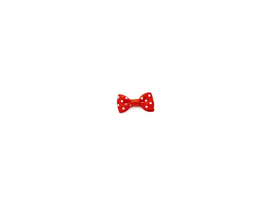 Mašlička taftová červená s bílými puntíky (š3 x v1.5 cm ) 8 Kč