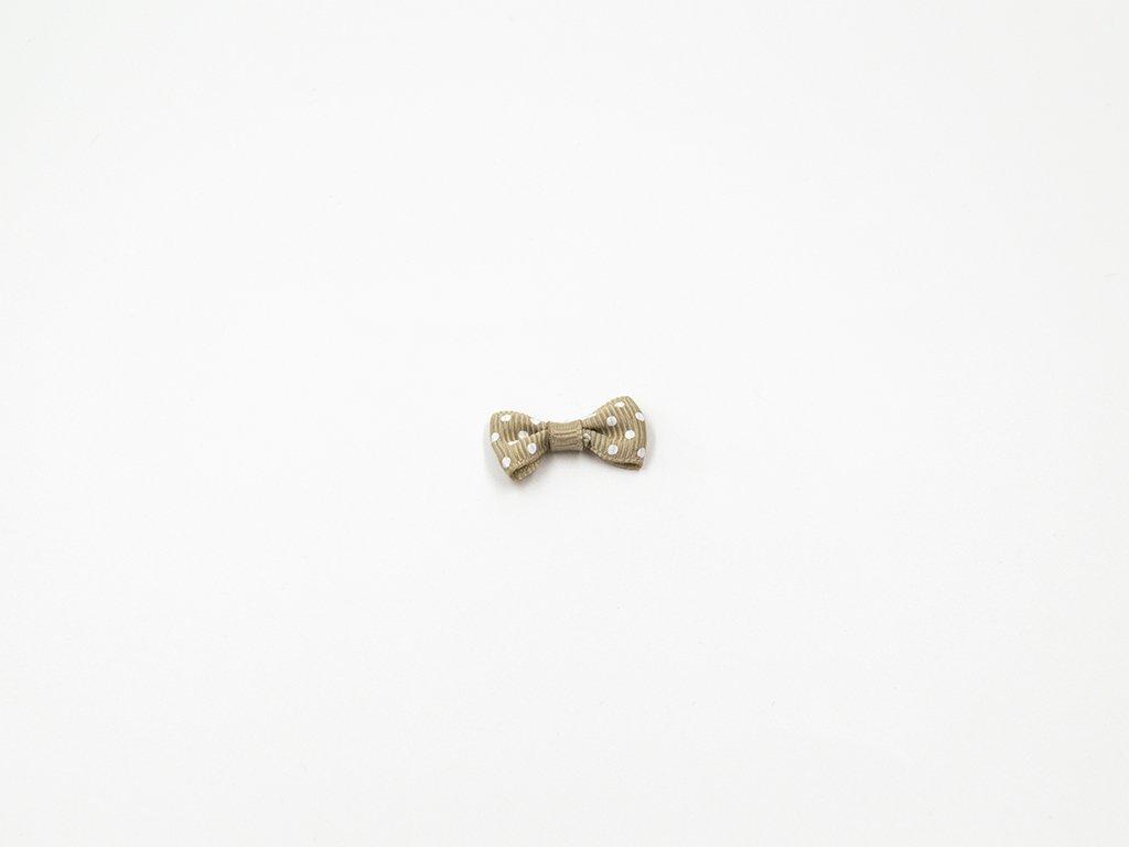 Mašlička taftová khaki a bílými puntíky (š3 x v1.5 cm ) 8 Kč