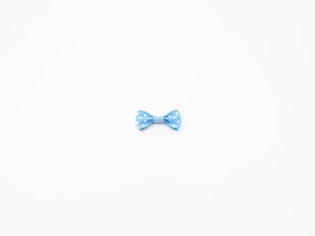 Mašlička taftová modrá s bílými puntíky (š3 x v1.5 cm ) 8 Kč