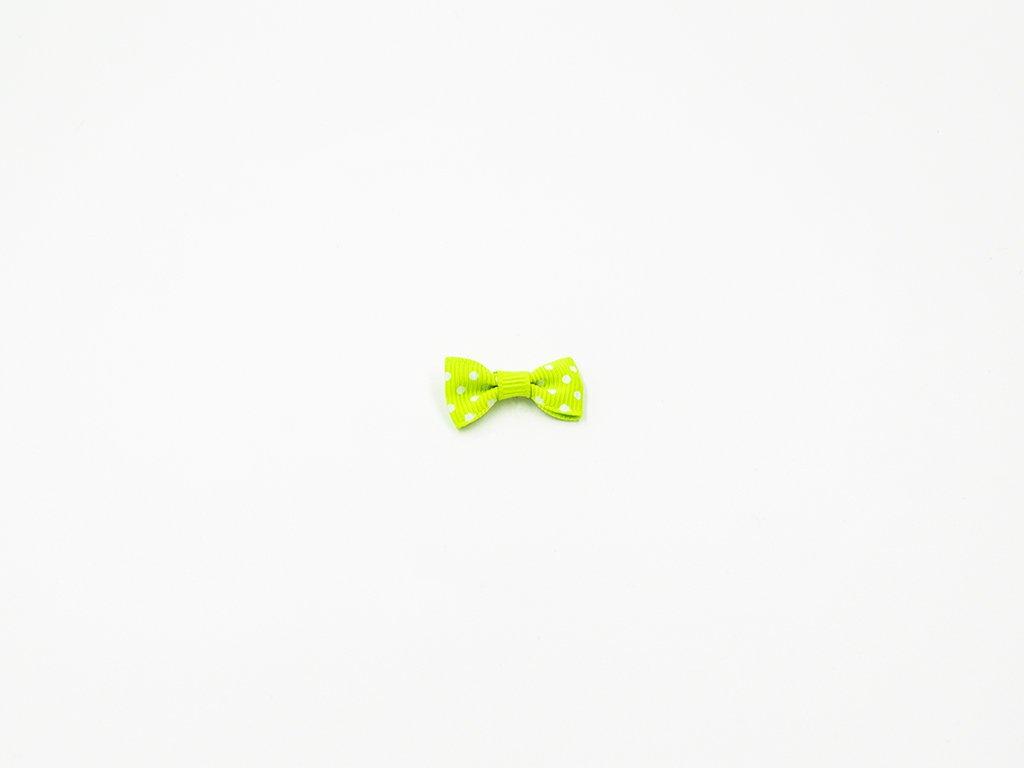 Mašlička taftová zelená s bílými puntíky (š3 x v1.5 cm ) 8 Kč