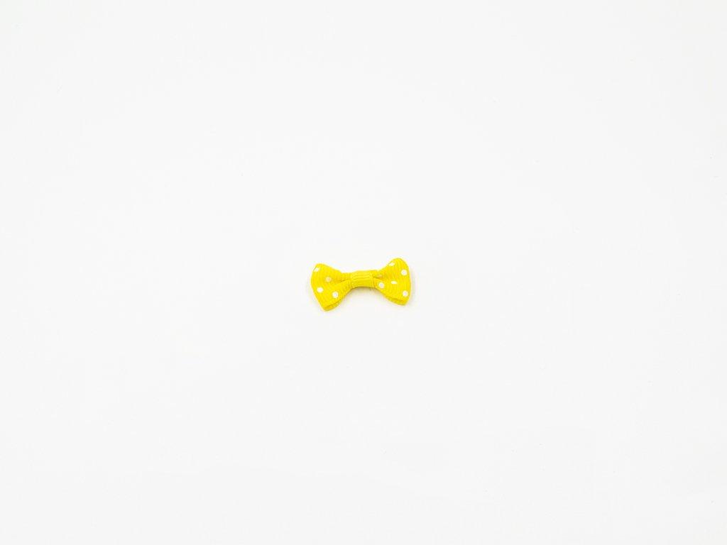 Mašlička taftová žlutá s bílými puntíky (š3 x v1.5 cm ) 8 Kč
