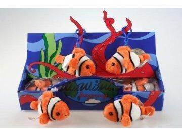 Plyšová ryba klaun klíčenka 12 cm - plyšové hračky
