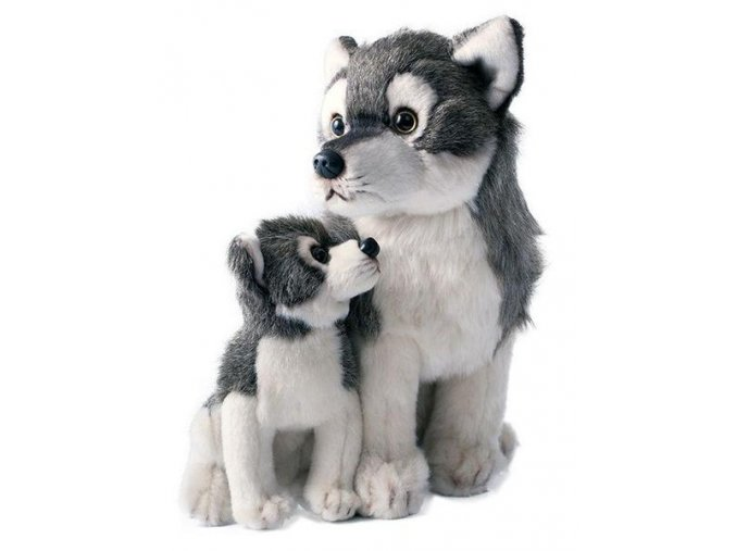 Plyšový vlk s mládětem 27cm - plyšové hračky