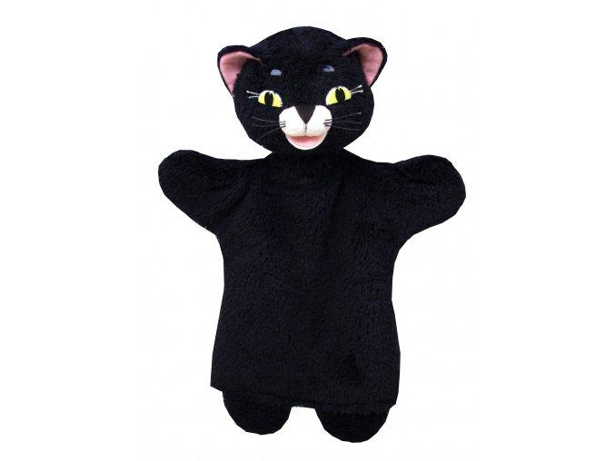 Plyšová černá kočka maňásek 26cm - plyšové hračky