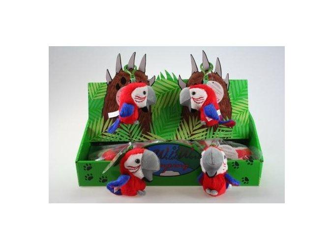 Plyšový papoušek klíčenka 10 cm - plyšové hračky