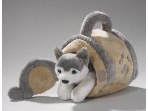 Plyšový husky 15 cm s boudou - plyšové hračky