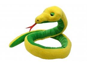 Plyšový had žluto-zelený 270cm - plyšové hračky