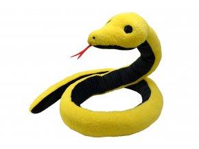 Plyšový had žluto-černý 270cm - plyšové hračky