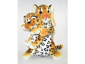 Plyšový levhart s mládětem 36 cm - plyšové hračky