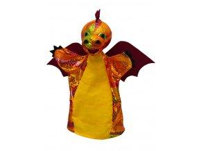 Maňásek drak duhový vínový 28 cm - maňásci