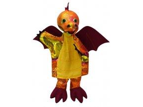 Maňásek drak duhový, vínový 31 cm - maňásci