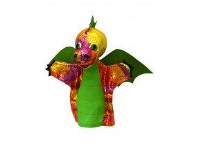 Maňásek drak duhový, zelený 31 cm - maňásci