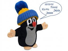 Plyšový Krteček mluvící maňásek, modrý kulich 25 cm - plyšové hračky