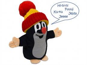 Plyšový Krteček mluvící maňásek, červený kulich 25 cm - plyšové hračky