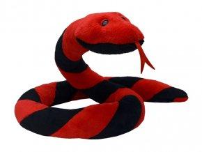 Plyšový had Suk 250 cm červeno-černý - plyšové hračky
