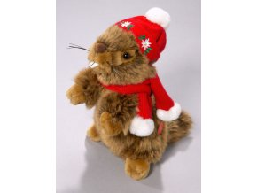 Plyšový svišť vánoční zvukový 18 cm - plyšové hračky