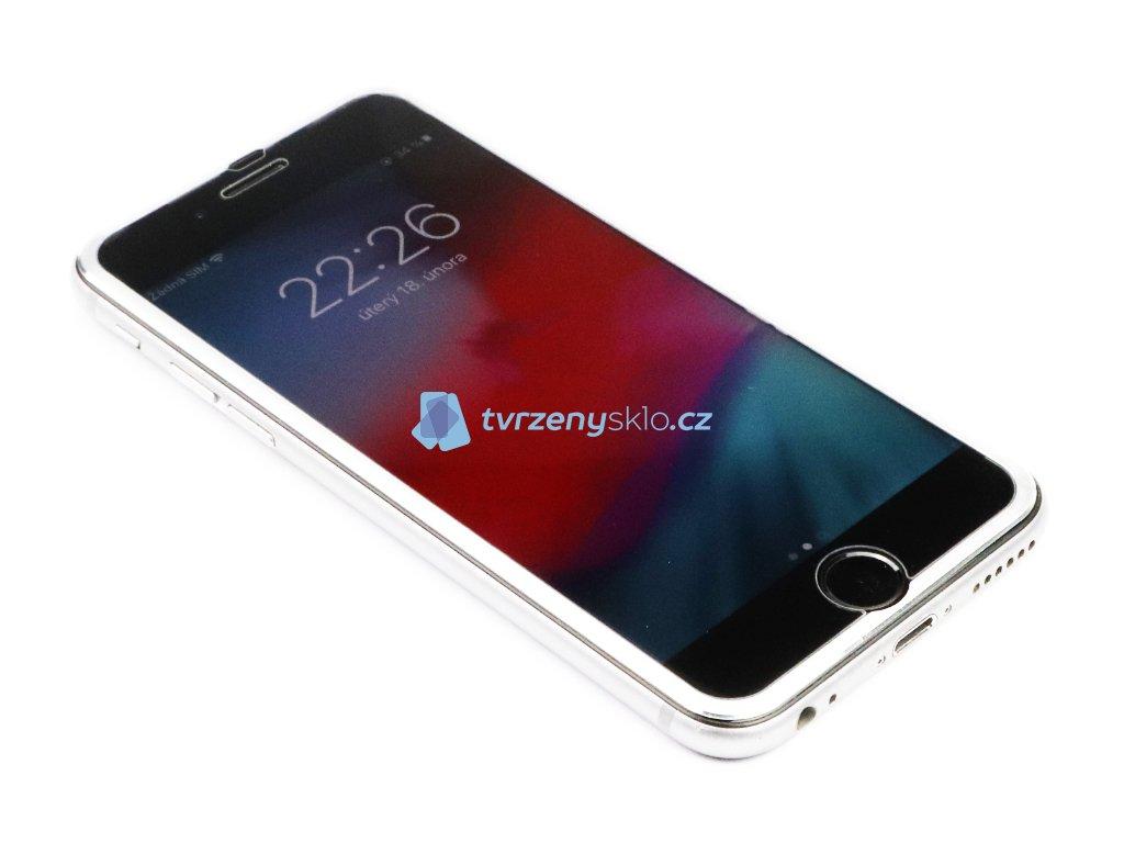 3D Tvrzené sklo s hliníkovým rámečkem iPhone 6,6s,7,8 - Stříbrné