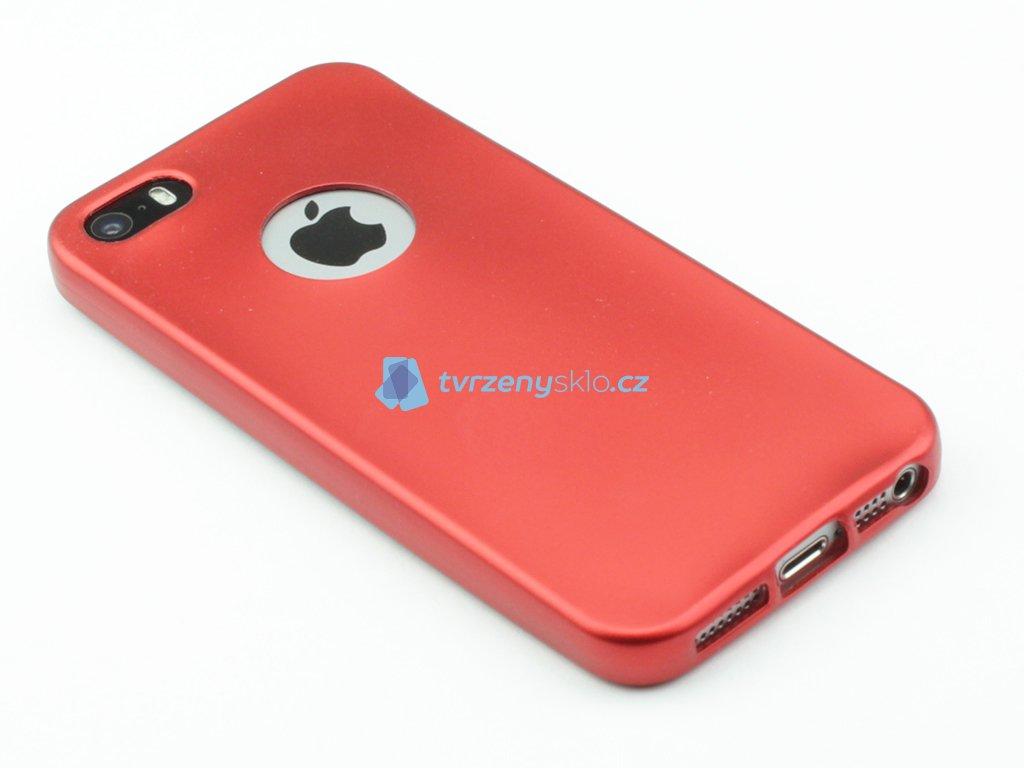 Pevný, Gumový kryt pro iPhone 5,5s,SE Červený
