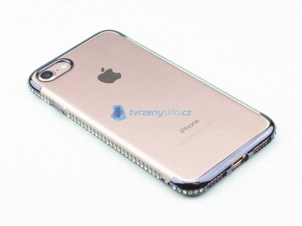 Pevný Gumový kryt s ozdobnými kamínky na iPhone 7, iPhone 8 Modrý
