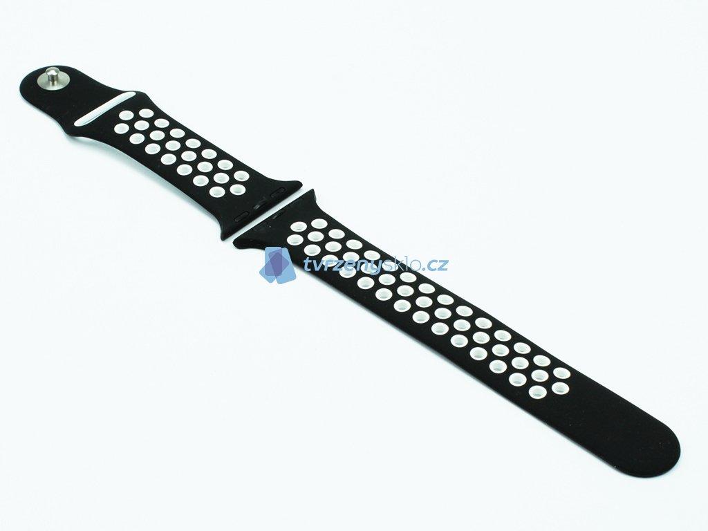 Gumový řemínek s odvětrávacími otvory pro Apple Watch ČernoBílý