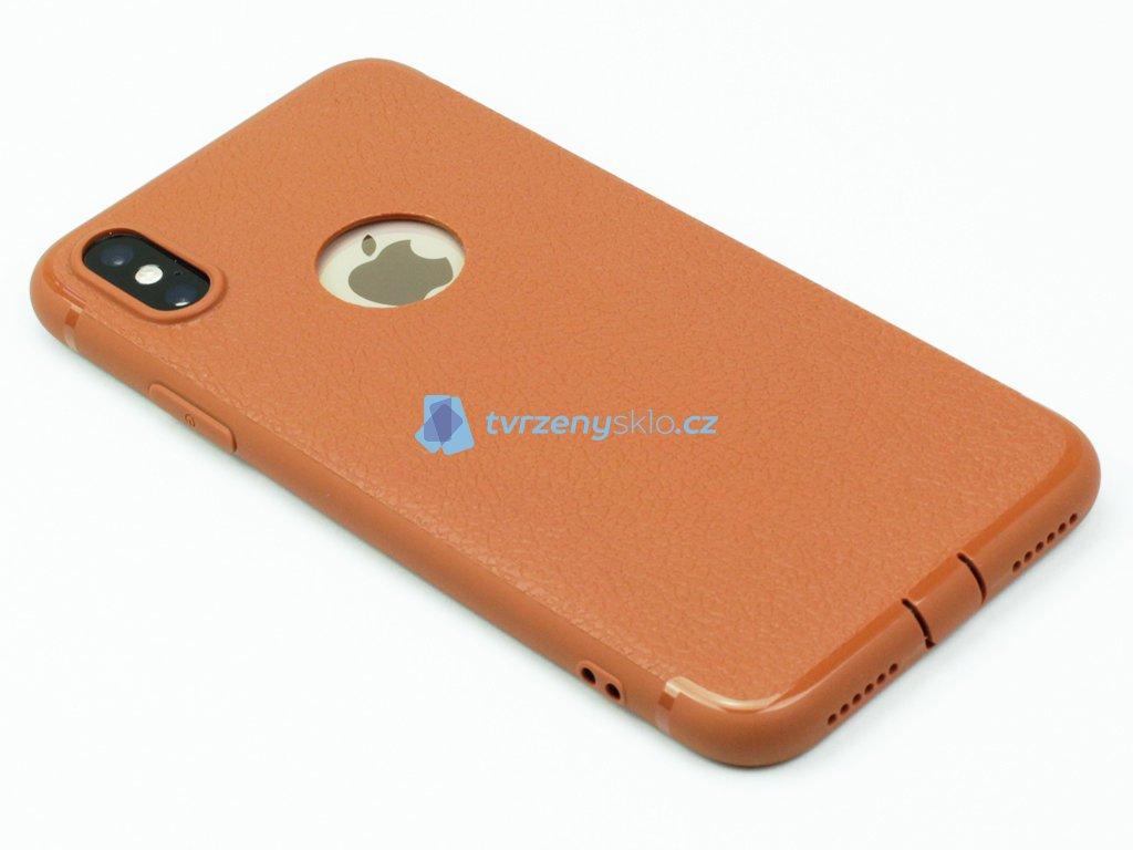 Gumový kryt na iPhone X,XS ve stylu kůže Hnědý