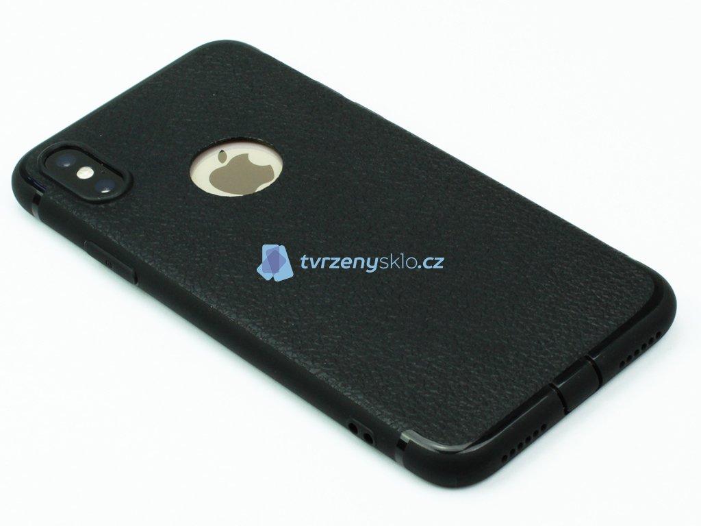 Gumový kryt na iPhone X,XS ve stylu kůže Černý