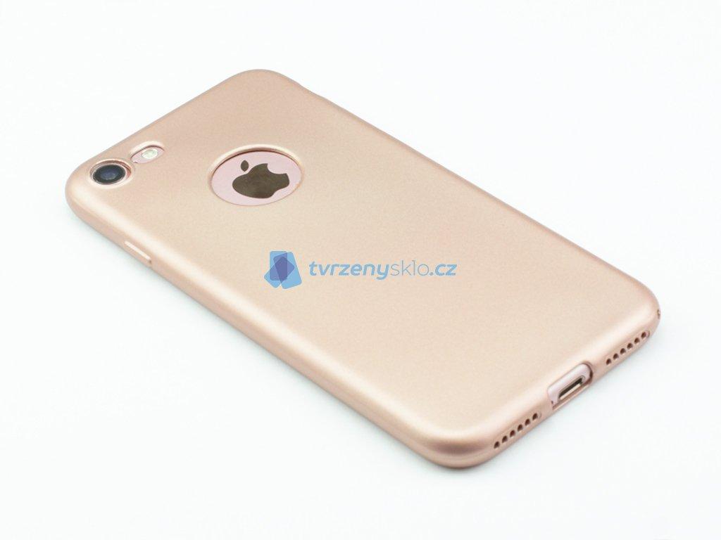 Pevný, GumovoSilikonový kryt pro iPhone 7,8 Zlatý