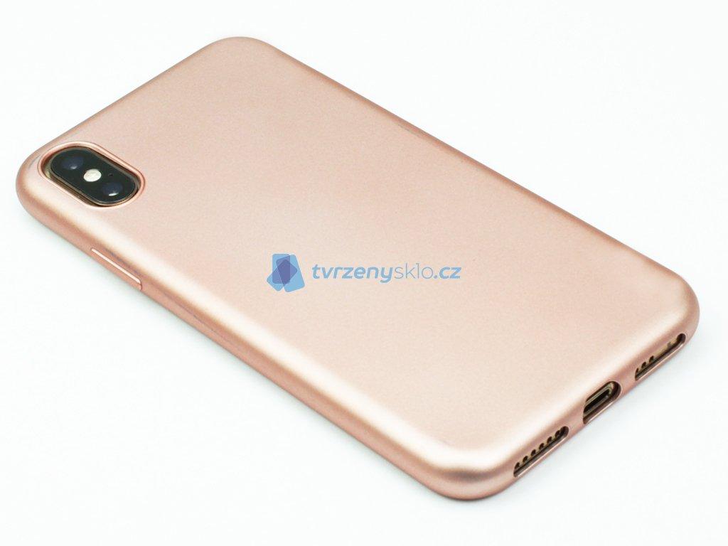 Pevný, GumovoSilikonový kryt pro iPhone X,XS Zlatý