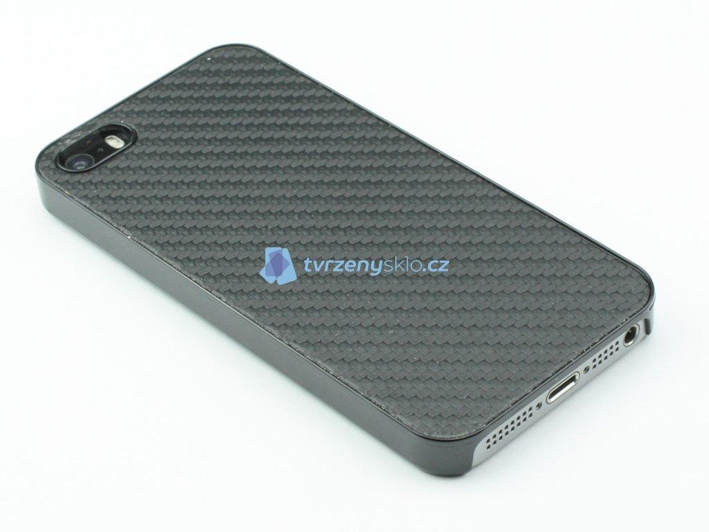 Plastový kryt na iPhone 5,5s,SE s motivem karbonu Černý