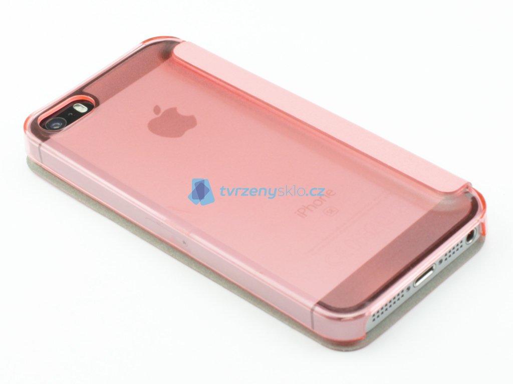 Zavírací pouzdro pro iPhone 5,5s,SE plastovokožené Růžové