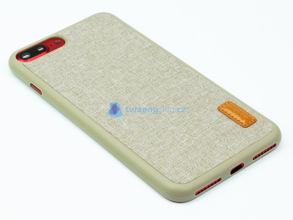 Gumovolátkový obal Baseus Grain pro iPhone 7 Plus, 8 Plus Béžová