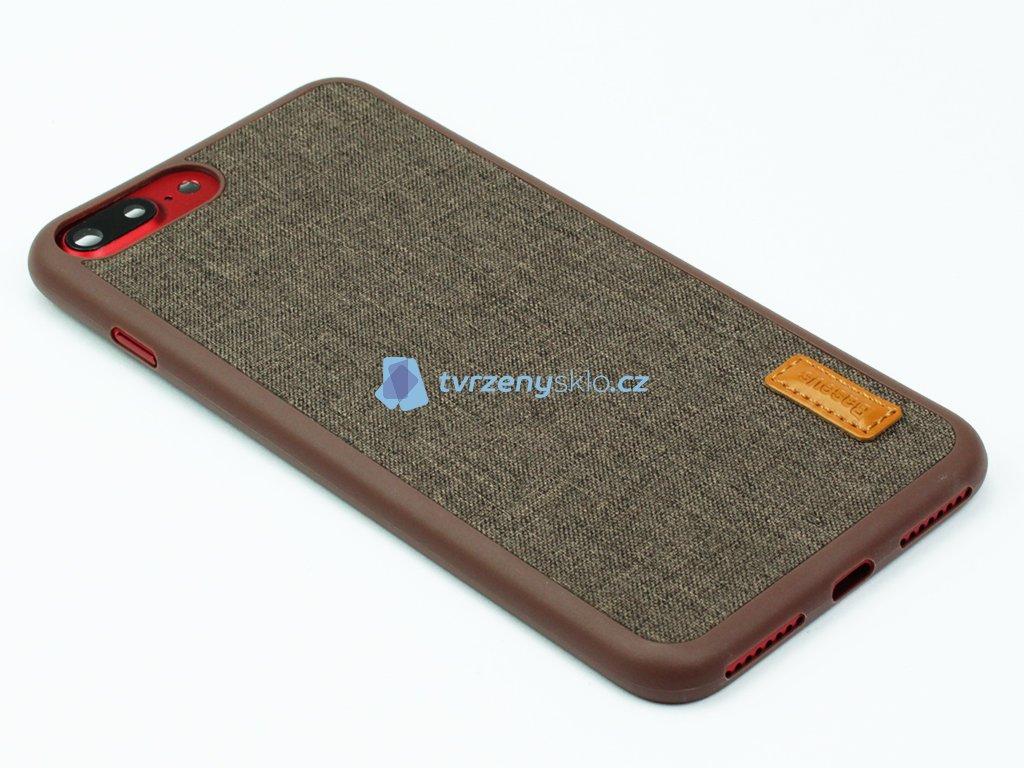 Gumovolátkový obal Baseus Grain pro iPhone 7 Plus, 8 Plus Hnědá