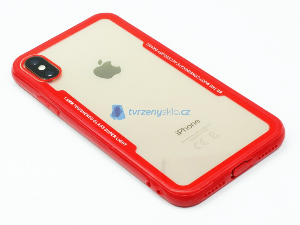 Průhledný obal s gumovým rámečkem pro iPhone X,XS Červený