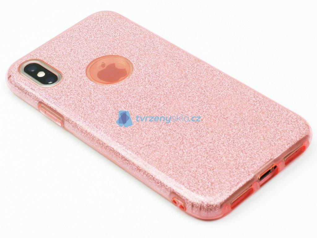 Gumový obal pro iPhone X se třpytkami Růžový