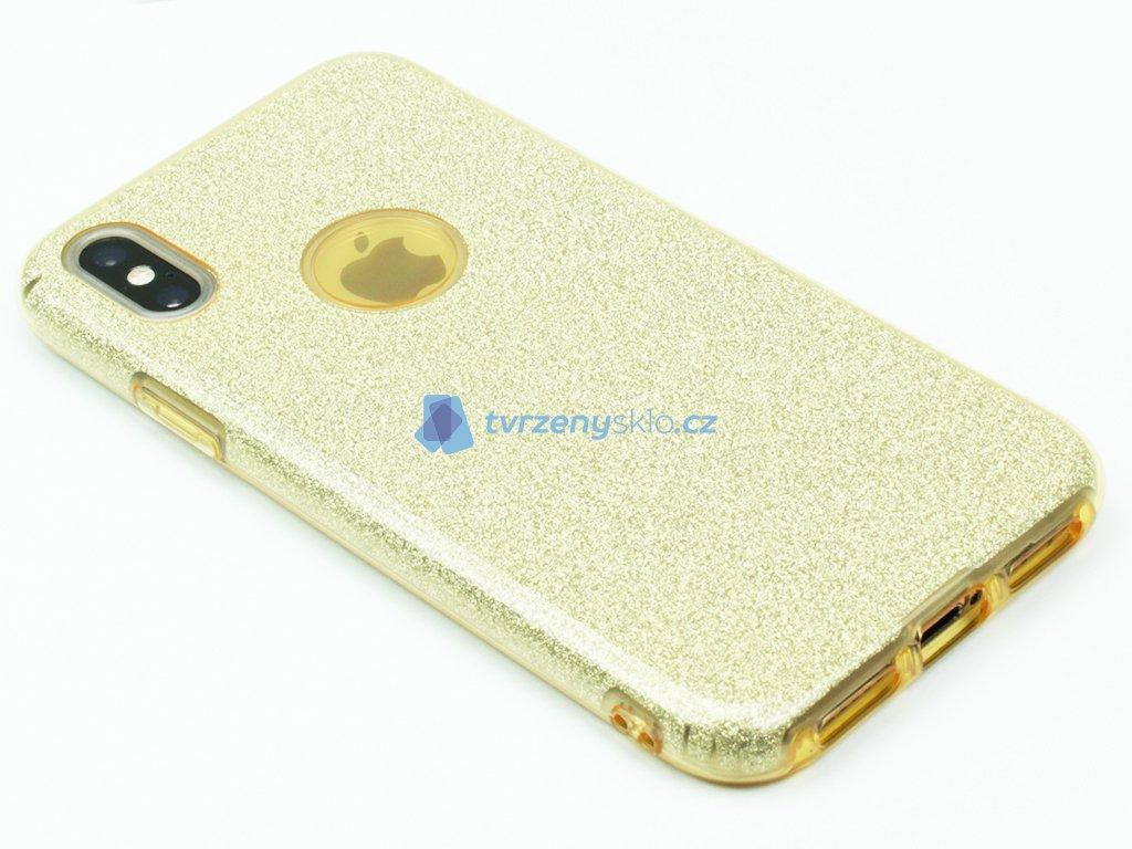 Gumový obal pro iPhone X se třpytkami Zlatý