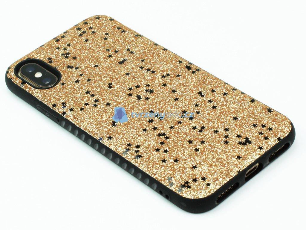 Velice odolný, gumový kryt pro iPhone X, XS se třpytkami Zlatý