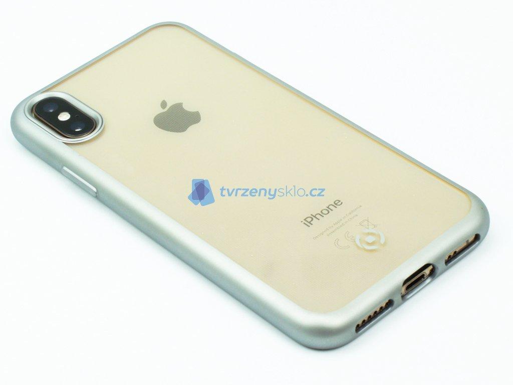 TPU pouzdro CELLY Laser lemování s matným kovovým efektem pro Apple iPhone X,XS, stříbrné