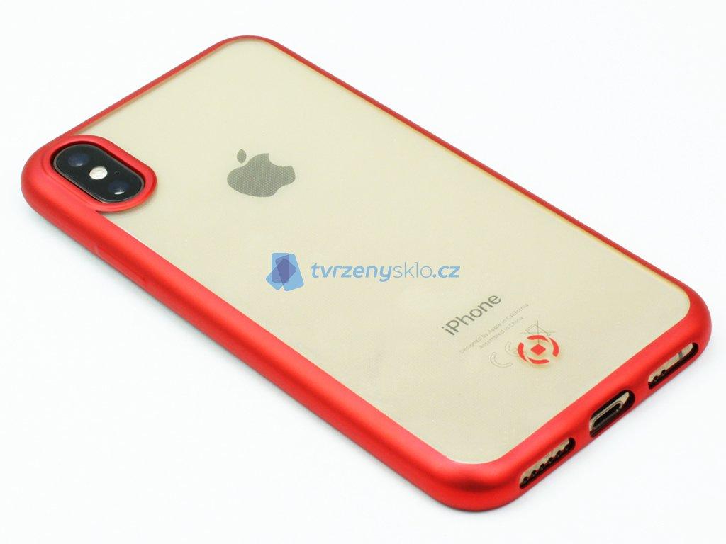 TPU pouzdro CELLY Laser lemování s matným kovovým efektem pro Apple iPhone X,XS, červené
