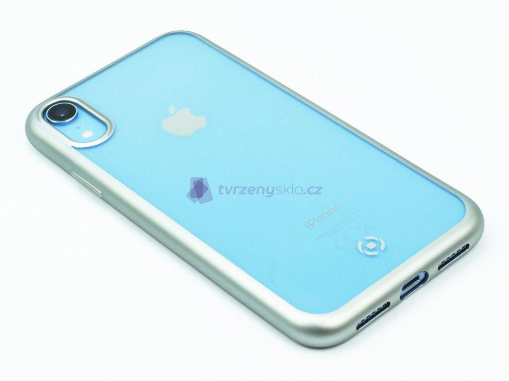 TPU pouzdro CELLY Laser lemování s matným kovovým efektem pro Apple iPhone XR, stříbrné