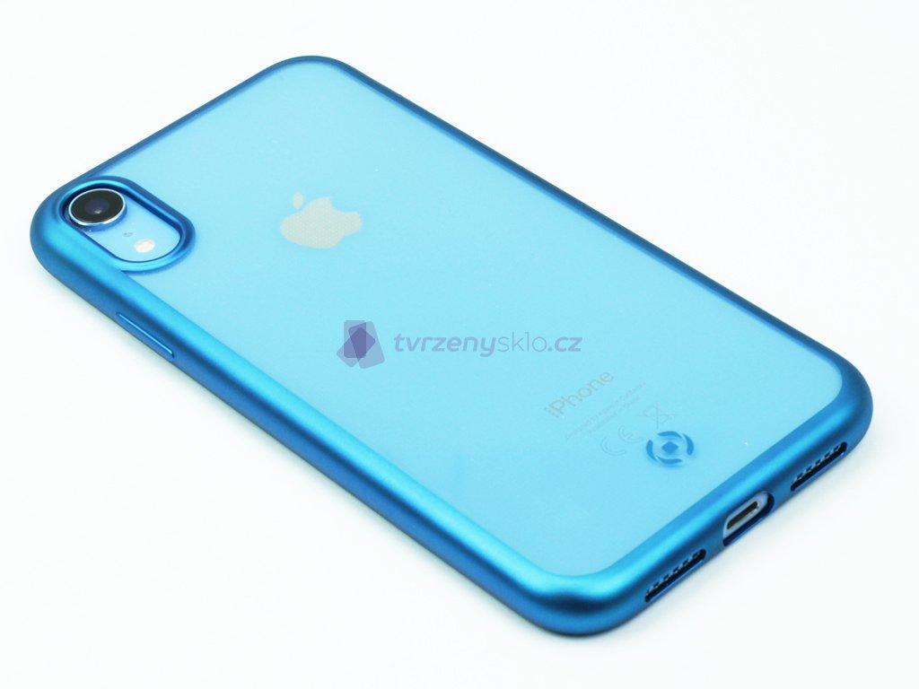 TPU pouzdro CELLY Laser lemování s matným kovovým efektem pro Apple iPhone XR, modré