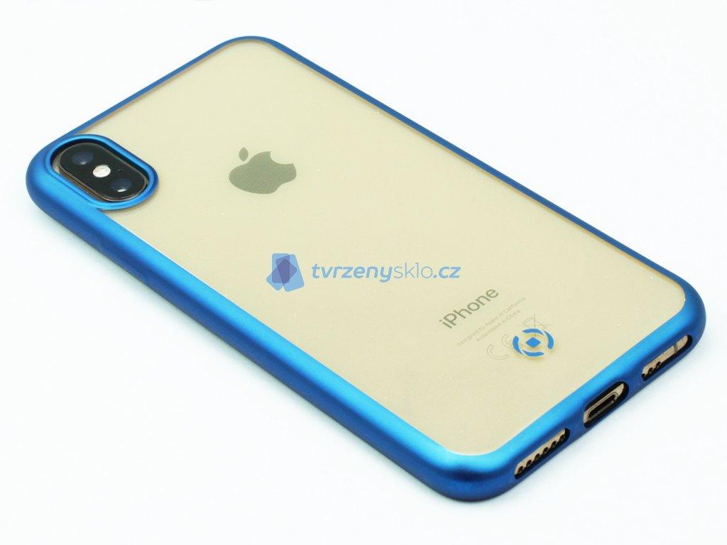 TPU pouzdro CELLY Laser lemování s matným kovovým efektem pro Apple iPhone X,XS, světle modré